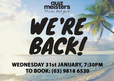 Quiz Meisters back at the Glenferrie