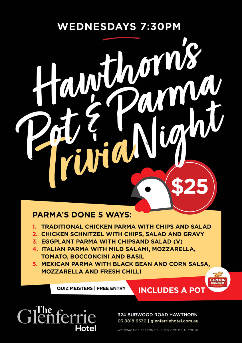 Trivia Night at the Glenferrie hotel Wednesdays