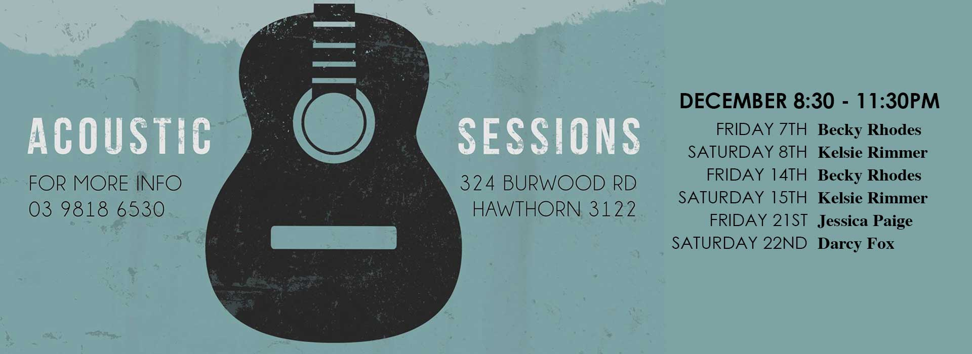 acoustic sessions Friday Saturday Glenferrie